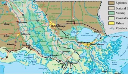 Atchafalaya Basin map.