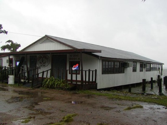 The legendary swamp-pop/Cajun music stronghold Chilly's nightclub, mounted over rickety pilings on Lake Verret.