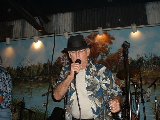 Jivin' Gene Bourgeois sings at a 2004 benefit at Pat's in Henderson, La.