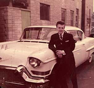 Charlie, the proud owner of a brand new 1957 Cadillac--his first. The price tag: $5,300! Photo: charliegracie.com