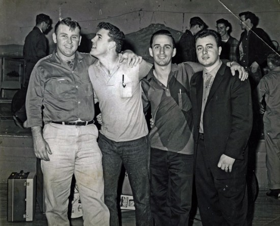 Benny Barnes, left, Jivin' Gene, Rod Bernard, and Johnny Preston