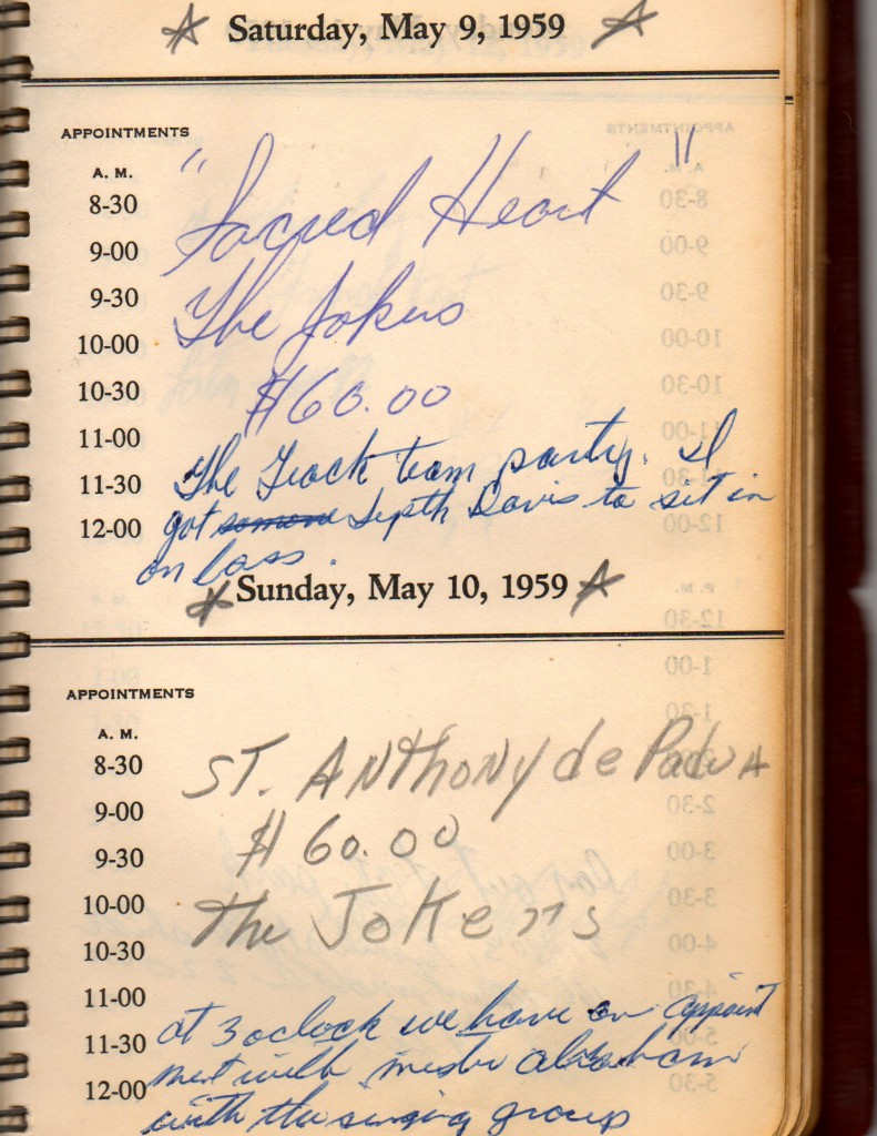 Two Jokers' gigs are documented in Cullen Landry's 1959 daybook.