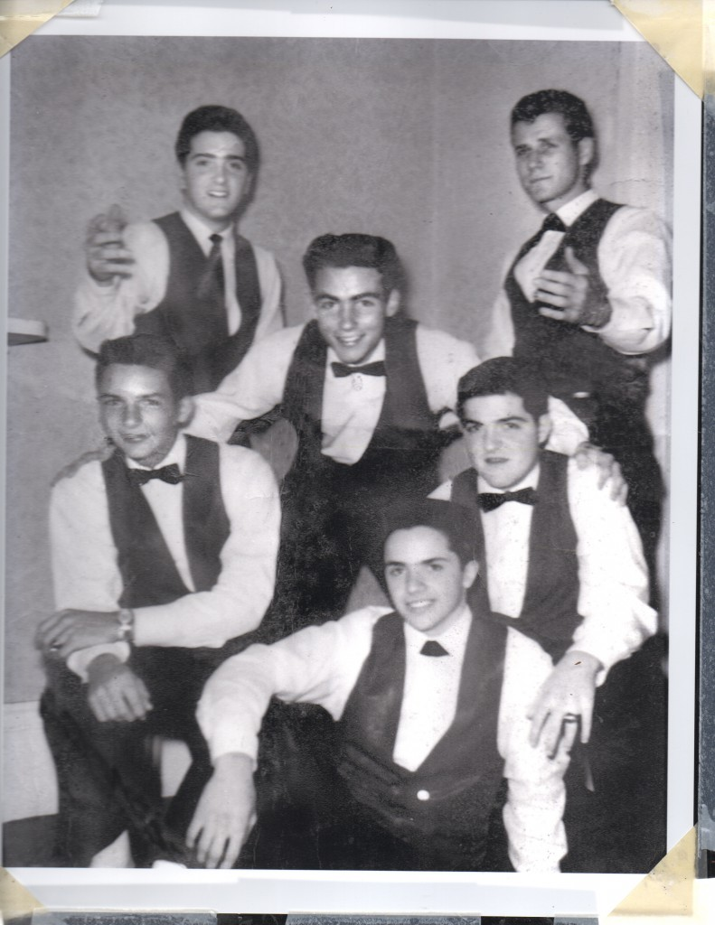 Cullen Landry, center, with an early version of The Jokers with lead singer Chuck Cavet, bottom; Gene Joubert, kneeling at left; Eddie Roth, standing at left.