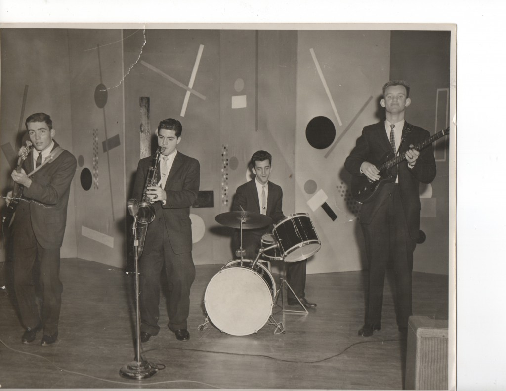 Cullen Landry, left, and saxophonist Gene Joubert take first place in a Jesuit High School talent show in the 1950s.