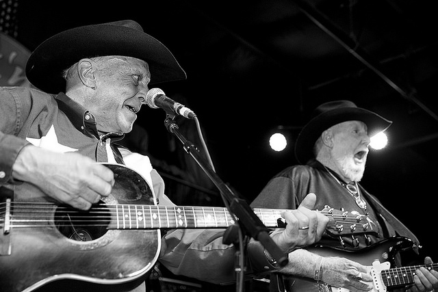 Jim Oertling, left, and a compadre at the 2015 Ponderosa Stomp (Photo © Edgar Mata)